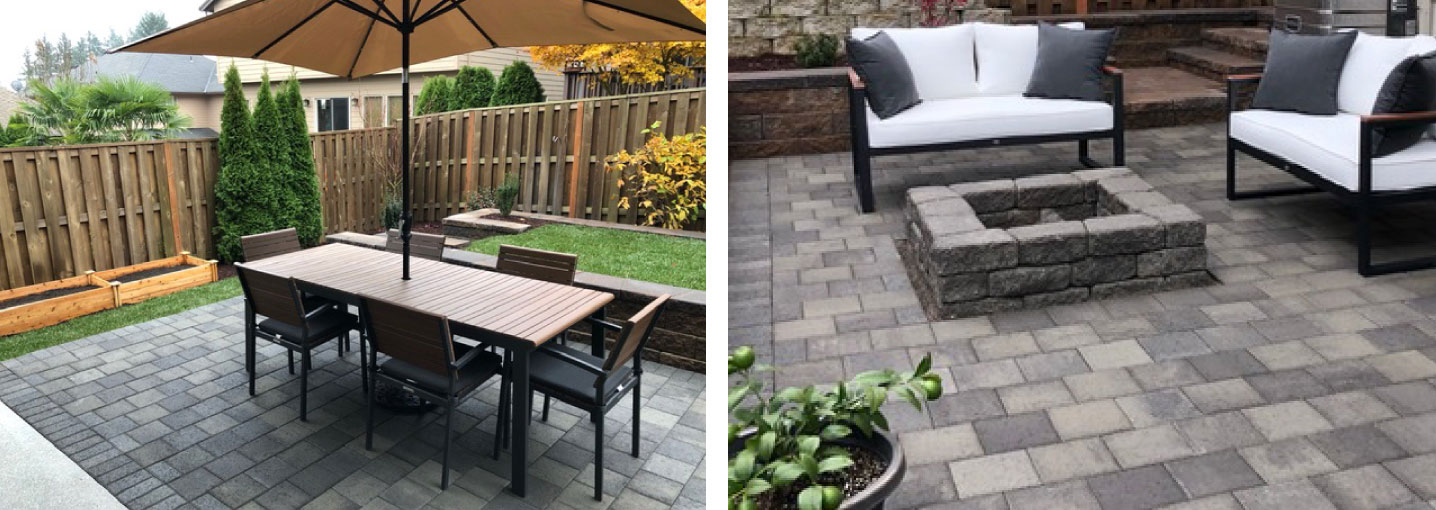 example of a beautiful patio build with pavers and a firepit.